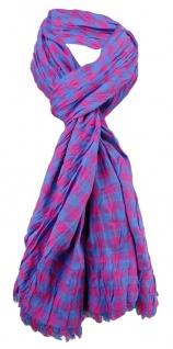 gecrashter Schal in pink blau lila kariert mit kleinen Fransen - Gr. 180 x 50 cm