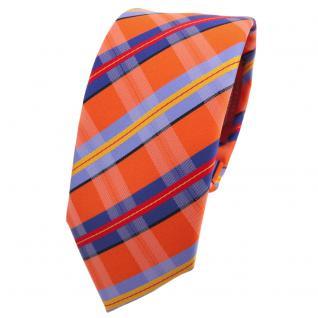 Schmale Designer Krawatte orange blau rot schwarz gestreift - Schlips Binder Tie