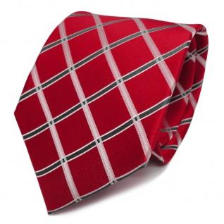 Designer Seidenkrawatte rot leuchtrot knallrot anthrazit weiß kariert - Krawatte