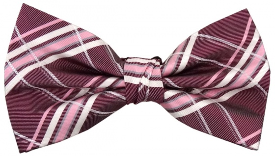 TigerTie Designer Seidenfliege lila rotviolett rosa silber kariert -Fliege Seide