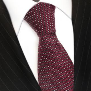 Designer Krawatte Seide rot weinrot silber schwarz gepunktet - Seidenkrawatte - Vorschau 3