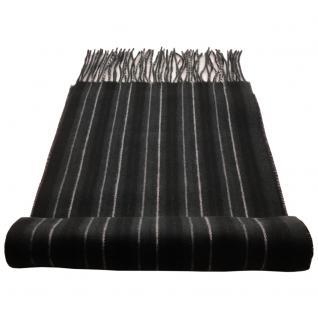 Feiner Designer Schal schwarz anthrazit grau schwacholiv gestreift - Cashmink