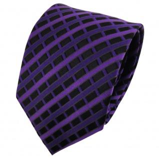 TigerTie Seidenkrawatte lila dunkellila schwarz kariert - Krawatte 100% Seide