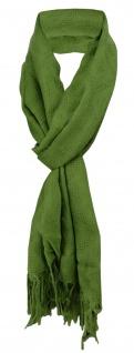 Schal in grün einfarbig Uni mit Fransen - 170 x 50 cm - Tuch Baumwolle