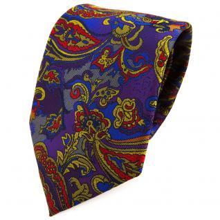 TigerTie Designer Krawatte lila blau gold anthrazit mehrfarbig Paisley gemustert