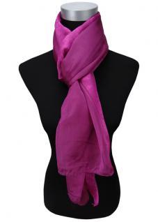 Satin Chiffon Schal in magenta lila Uni einfarbig - Gr. 160 x 100 cm - Halstuch