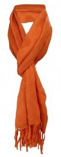 Schal in orange einfarbig Uni mit Fransen - 170 x 50 cm - Tuch Baumwolle