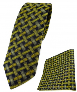 schmale TigerTie Krawatte + Einstecktuch in gelb schwarz - Motiv Flechtmuster