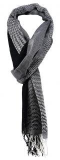 TigerTie Schal in silber anthrazit grau schwarz weiss gemustert - 180 x 50 cm