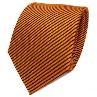 TigerTie Designer Seidenkrawatte orange schwarz gestreift - Krawatte Seide