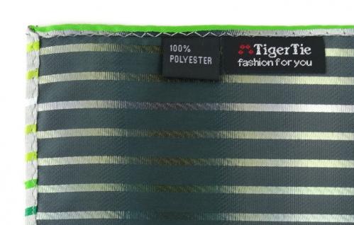 TigerTie Einstecktuch in grün hellgrün grasgrün weiss silbergrau gestreift - Vorschau 3