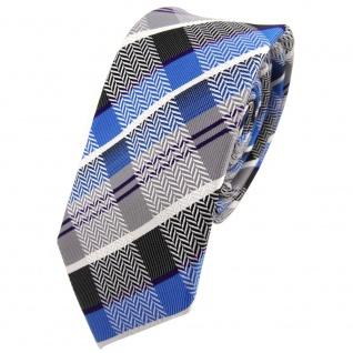 Schmale TigerTie Seidenkrawatte blau anthrazit grau silber lila kariert - Tie