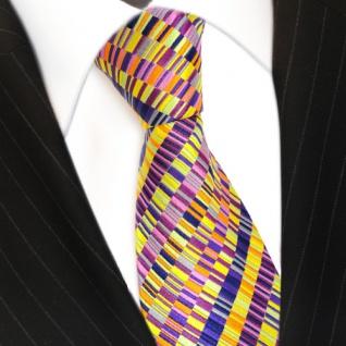 Seidenkrawatte magenta orange gelb lila violett pink gestreift - Krawatte Seide - Vorschau 3