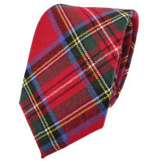 TigerTie Wollkrawatte rot grün blau gelb silber kariert - Krawatte Wolle wool