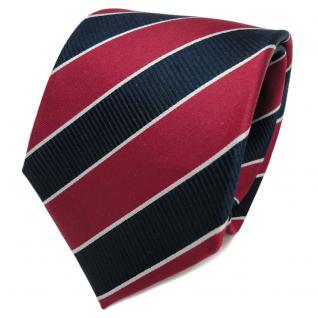TigerTie Designer Seidenkrawatte rot karminrot royal silber gestreift - Krawatte