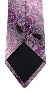 TigerTie Designer Seidenkrawatte in lila magenta grau silber Paisley gemustert - Vorschau 5