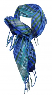 Halstuch in blau royal grün grau mint petrol kariert mit Fransen - 80 x 80 cm