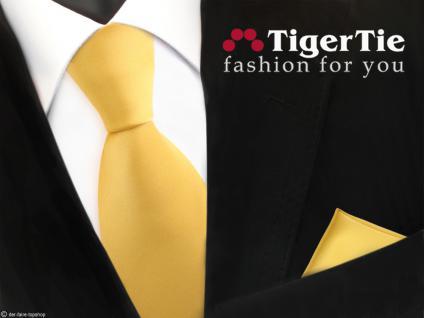schöne TigerTie Satin Krawatte + Einstecktuch in gelb goldgelb Uni - Tie Binder