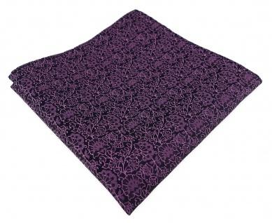 TigerTie Designer Einstecktuch in rosa violett schwarz florales Muster