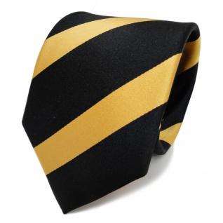 TigerTie Designer Seidenkrawatte gelb goldgelb schwarz gestreift- Krawatte Seide