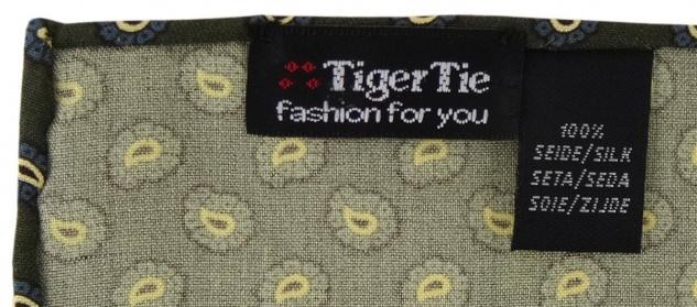 TigerTie handrolliertes Seideneinstecktuch in grün blau gold schwarz Paisley - Vorschau 2