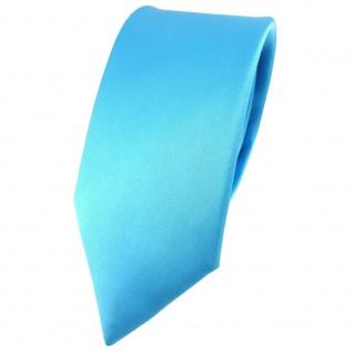 schmale TigerTie Satin Seidenkrawatte in türkis einfarbig - Krawatte 100% Seide