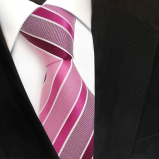 TigerTie Designer Seidenkrawatte rosa magenta pink weiß gestreift- Krawatte Silk