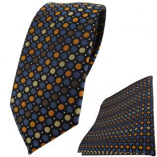 schmale TigerTie Krawatte + Einstecktuch braun blau gold orange silber gepunktet