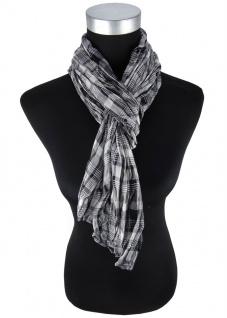 Raffschal in silber grau schwarz kariert gemustert - Schal Größe 170 x 60 cm