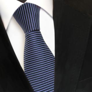 Designer Seidenkrawatte blau hellblau fernblau schwarz gestreift- Krawatte Seide