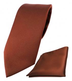 schöne TigerTie Krawatte + Einstecktuch in braun rot rotbraun uni - Binder Tie