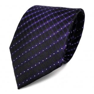 Schicke Seidenkrawatte lila schwarz silber gestreift - Krawatte Seide Tie