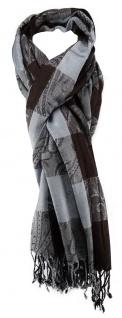 TigerTie Schal in grau braun Karomuster mit Paisley - Größe 190 x 70 cm