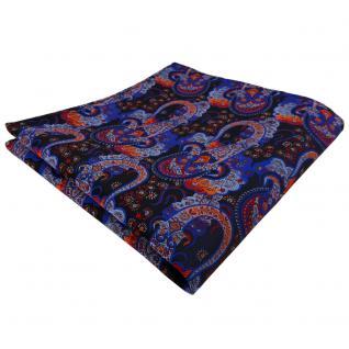 TigerTie Einstecktuch blau dunkelblau orange rot Paisley - Tuch 100% Polyester