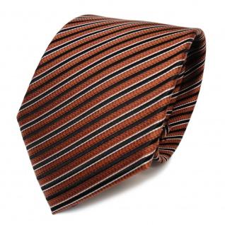 Designer Seidenkrawatte braun bronze schwarz silber gestreift - Krawatte Seide
