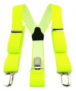 TigerTie Unisex Hosenträger mit 3 extra starken Clips - neongelb einfarbig Uni