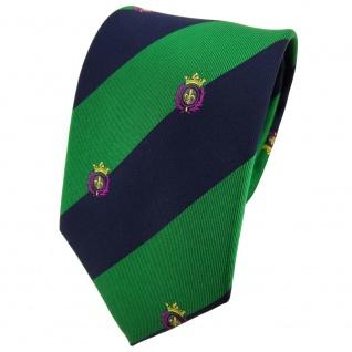 TigerTie Seidenkrawatte grün blau lila gold gestreift Wappen - Krawatte Seide