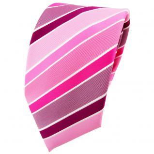 TigerTie Krawatte rosa magenta pink lila weiß gestreift - Binder Tie