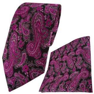 TigerTie Designer Krawatte + Einstecktuch magenta schwarz silber Paisley