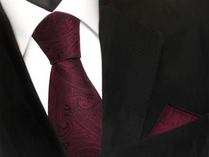 Designer TigerTie Krawatte + Einstecktuch rot weinrot schwarz paisley Muster - Vorschau 2