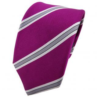 Enrico Sarto Seidenkrawatte magenta lila silber grau gestreift - Krawatte Seide