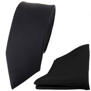 schmale TigerTie Satin Seidenkrawatte + Seideneinstecktuch schwarz einfarbig Uni