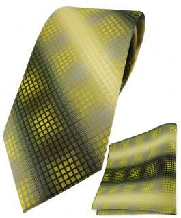 TigerTie Krawatte + Einstecktuch in gelb gold silber grau schwarz kariert