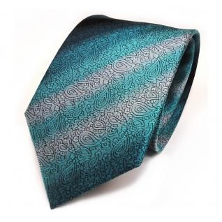 Elegante Seidenkrawatte türkis schwarz silber gestreift - Krawatte 100 % Seide