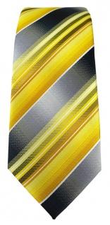 schmale TigerTie Designer Krawatte in gelb gold silber anthrazit grau gestreift - Vorschau 2