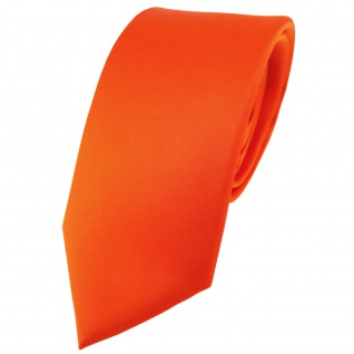 schmale TigerTie Satin Seidenkrawatte in orange einfarbig - Krawatte 100% Seide