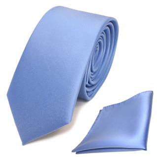 schmale TigerTie Schlips Krawatte + Einstecktuch blau hellblau uni Binder Tie
