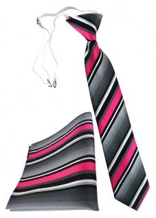 TigerTie Kinderkrawatte + Einstecktuch in pink silber grau weiss gestreift - Vorschau 1