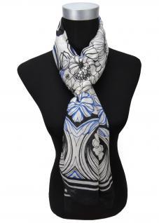 Feiner Schal in blau schwarz weiß Blumenmuster - Gr. 180 x 70 cm - Halstuch Tuch
