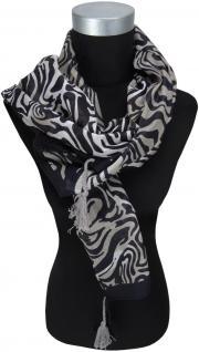 TigerTie Halstuch grau schwarz gemustert mit Bommeln an den Ecken - 100 x 100 cm